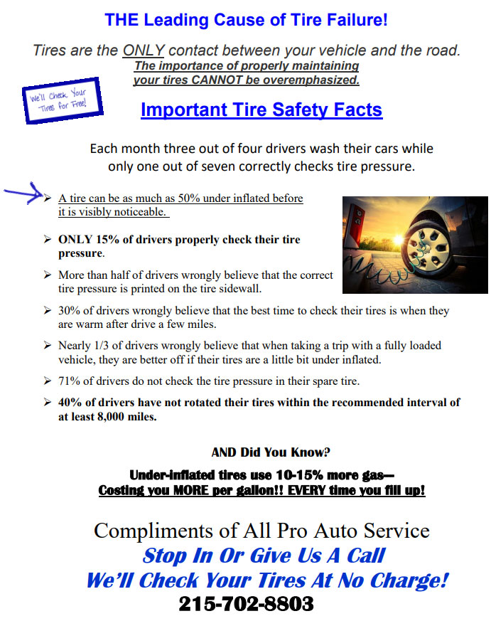 All Pro Auto Service FREE Tire Safety Inspection March 2021
