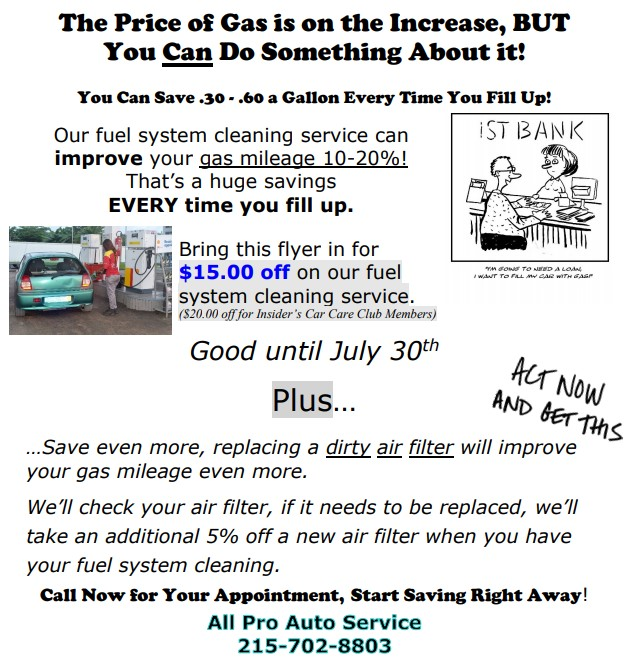 All Pro Auto Service Fuel System Cleaning Service